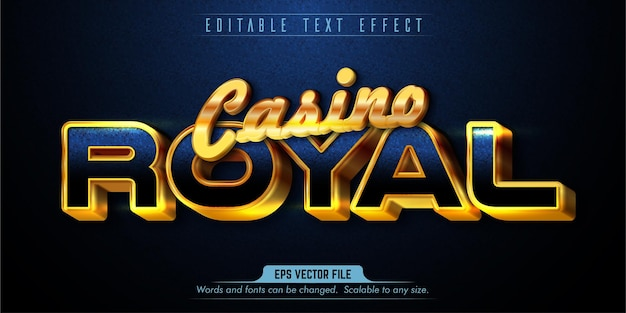 Effet de texte modifiable de style royal de casino