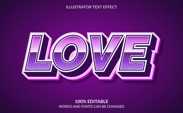 Effet de texte modifiable, style de texte d'amour