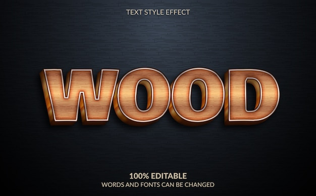 Effet de texte modifiable, style de texte en bois brun