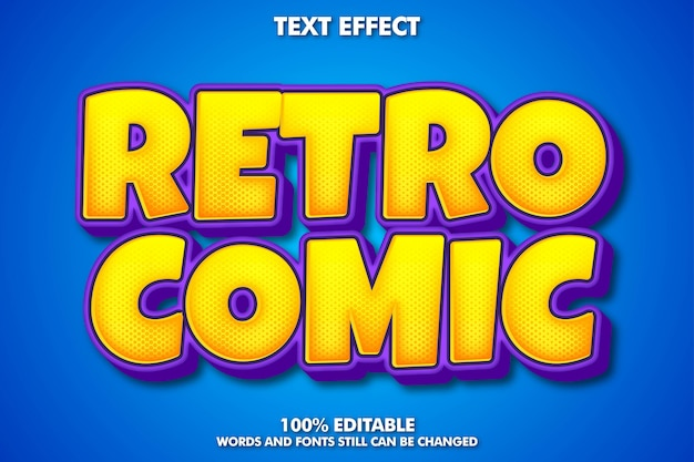Effet de texte modifiable, style de texte de dessin animé rétro