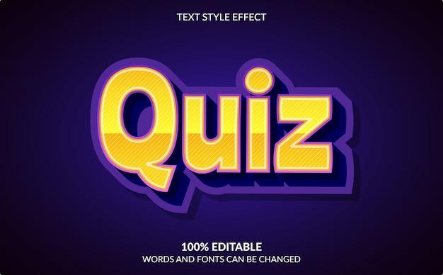 Effet de texte modifiable, style de texte de quiz