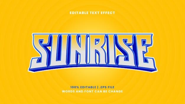 Effet de texte modifiable sunrise dans un style 3d moderne