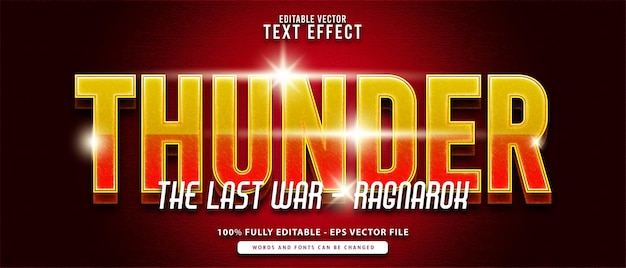 Effet de texte modifiable de super-héros moderne thunder