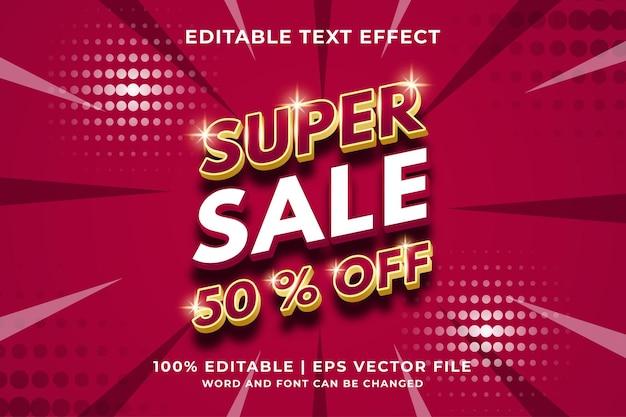 Effet de texte modifiable super vente style de modèle 3d vecteur premium