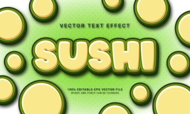 Effet de texte modifiable de sushi avec le thème du menu de la cuisine asiatique