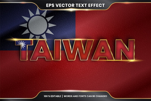 Effet de texte modifiable - taiwan avec son drapeau national