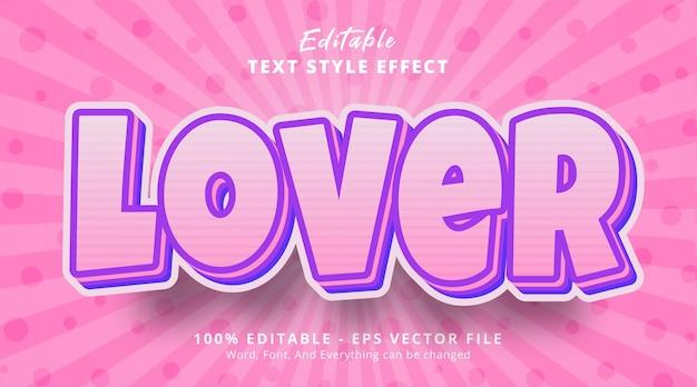 Effet de texte modifiable, texte d'amant sur un style de couleur rose doux