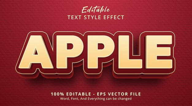 Effet de texte modifiable, texte apple sur l'effet de style de couleur de fruit
