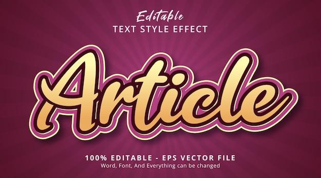 Effet de texte modifiable, texte de l'article sur un style de combinaison de couleurs joliment