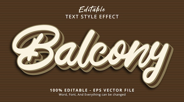 Effet de texte modifiable, texte de balcon sur l'effet de style de couleur vintage