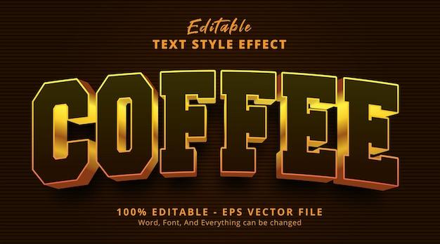 Effet de texte modifiable, texte de café sur l'effet de style de logo de titre