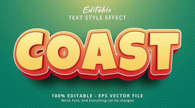 Effet de texte modifiable, texte de la côte sur l'effet de style dessin animé de titre
