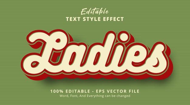 Effet de texte modifiable, texte de dames sur l'effet de style de couleur vintage