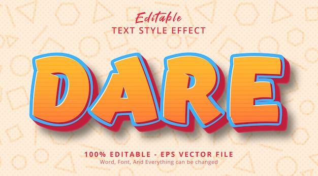 Effet de texte modifiable, texte dare sur le style d'affiche comique de titre