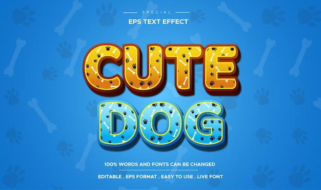 Effet de texte modifiable de texte de dessin animé comique de chien mignon