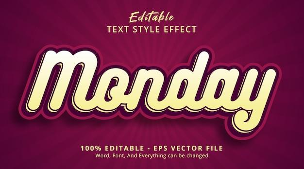 Effet de texte modifiable, texte du lundi sur effet de style de couleur velours rouge