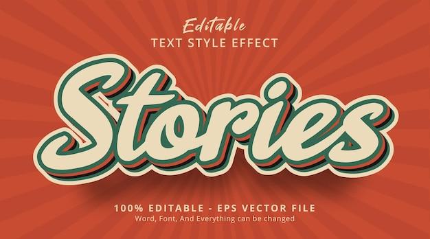 Effet de texte modifiable, texte d'histoires sur l'effet de combinaison de couleurs vintage populaire