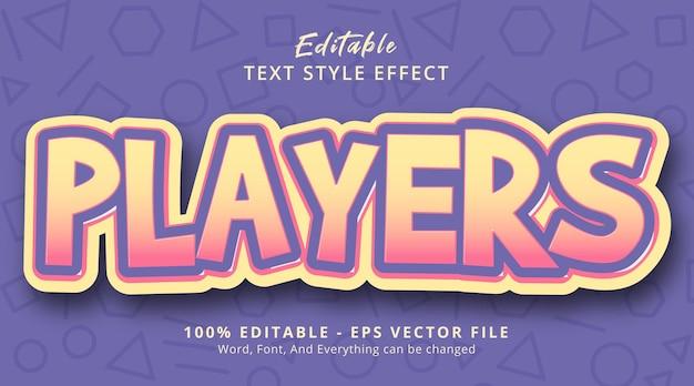 Effet de texte modifiable, texte des joueurs sur un style de couleur fantaisie superposé