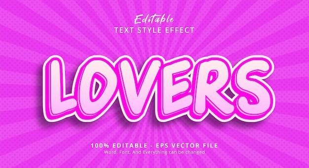 Effet de texte modifiable, texte lovers sur l'effet de style d'affiche de titre