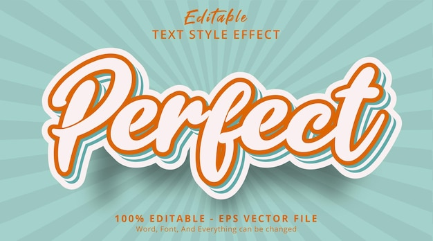 Effet de texte modifiable texte parfait sur l'effet de combinaison de couleurs vintage populaire