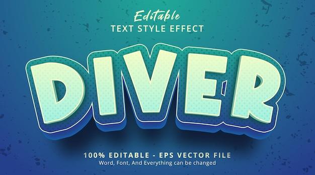 Effet de texte modifiable, texte de plongeur sur l'effet de style dessin animé