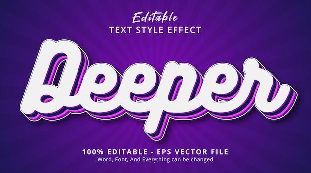 Effet de texte modifiable, texte plus profond sur l'effet de style de couleur violet en couches