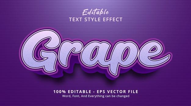 Effet de texte modifiable, texte de raisin sur couleur violette avec style cartoon