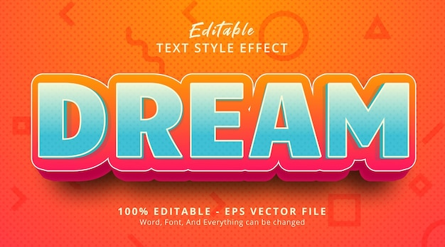 Effet de texte modifiable, texte de rêve sur l'effet de style de titre de dessin animé