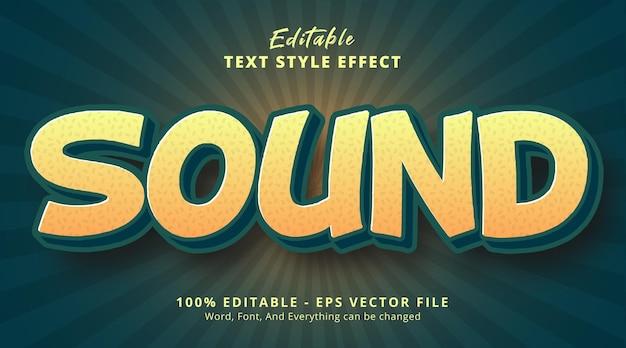 Effet de texte modifiable, texte sonore avec style de couleur vert et jaune