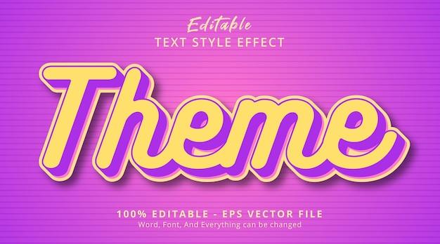 Effet de texte modifiable, texte de thème sur le style de combinaison de couleurs en couches