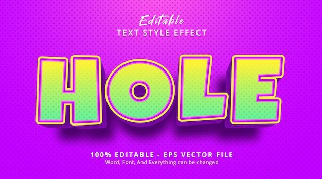 Effet de texte modifiable, texte de trou sur le style de texte de titre de dessin animé