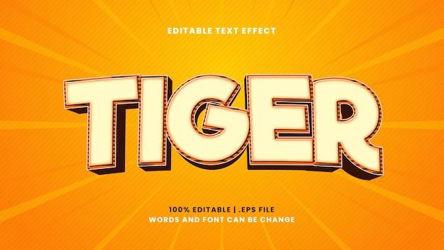 Effet de texte modifiable de tigre dans un style 3d moderne