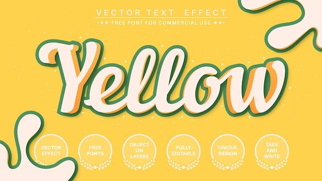 Effet de texte modifiable de trait jaune 3d