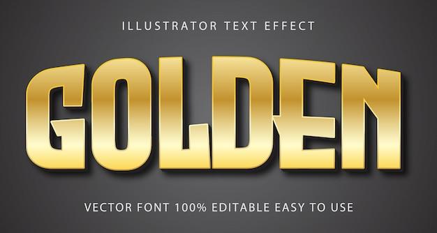 Effet de texte modifiable de vecteur d'or