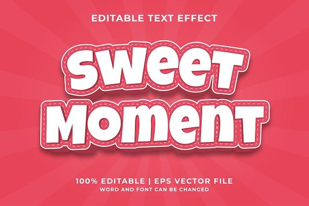 Effet de texte modifiable - vecteur premium de modèle de style sweet moment