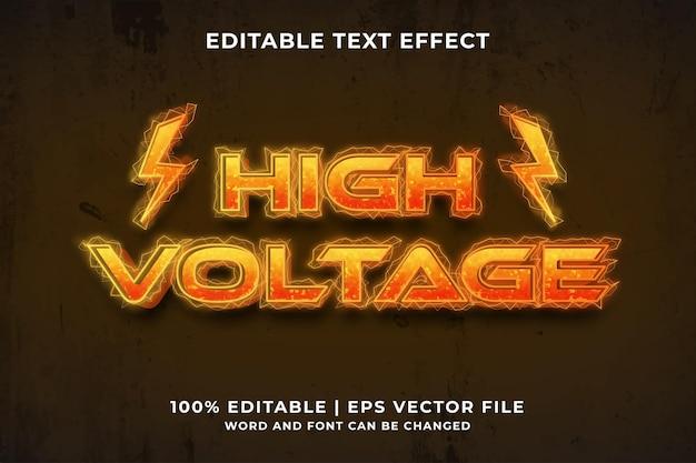 Effet de texte modifiable - vecteur premium de style de modèle haute tension
