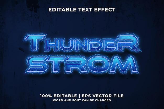 Effet de texte modifiable - vecteur premium de style de modèle thunder storm