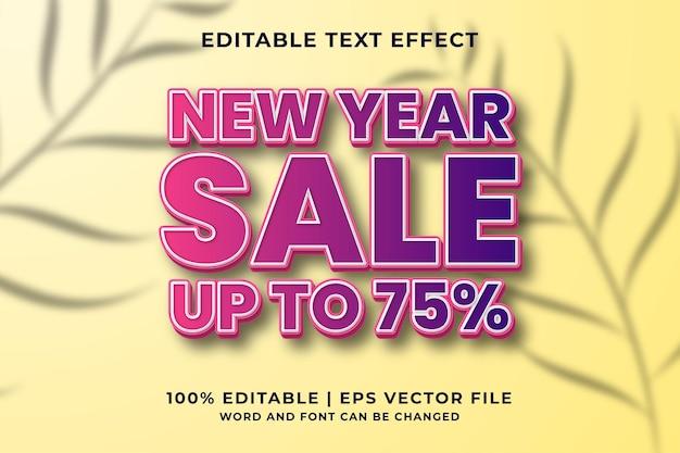 Effet de texte modifiable - vecteur premium de style de modèle de vente de nouvel an