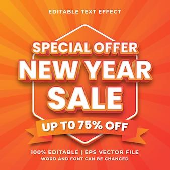 Effet de texte modifiable -vecteur premium de style de modèle de vente de nouvel an