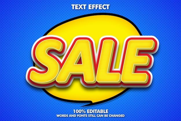 Effet de texte modifiable de vente dans le pop art