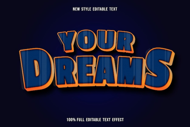 Effet de texte modifiable de vos rêves couleur bleu et orange