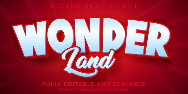 Effet de texte modifiable wonder style de texte rouge et blanc modifiable