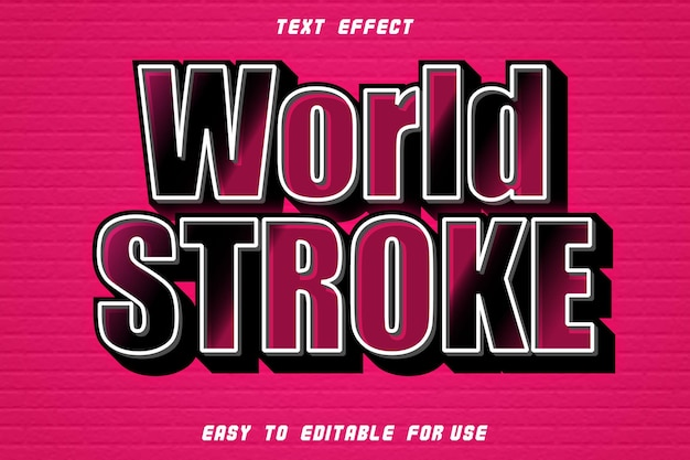 Effet de texte modifiable world stroke style moderne en relief