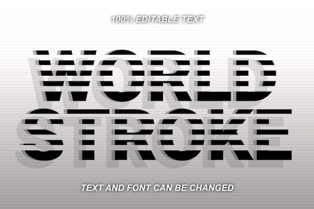 Effet de texte modifiable world stroke style moderne