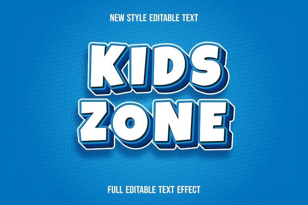 Effet de texte modifiable zone enfants couleur blanc et bleu