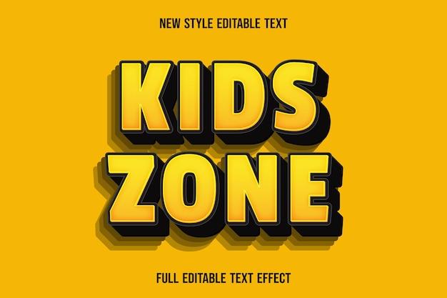 Effet de texte modifiable zone enfants couleur jaune et noir