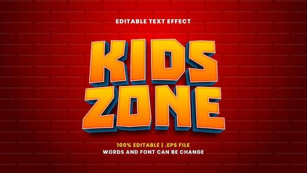 Effet de texte modifiable de la zone pour enfants dans un style 3d moderne