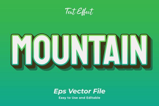 Effet de texte montagne vecteur premium modifiable et facile à utiliser