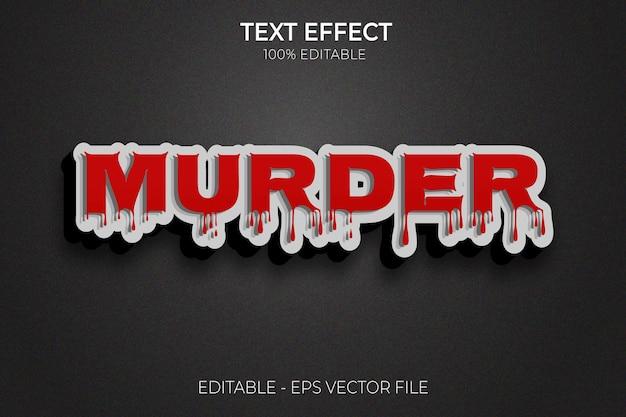 Effet de texte murder blood nouveau vecteur premium de style de texte gras modifiable creative 3d