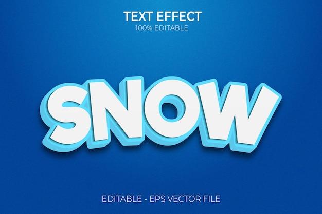Effet de texte de neige nouveau vecteur premium de style de texte gras modifiable créatif en 3d